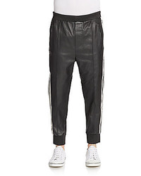 Dsquared2 leather striped track pants medium 457287