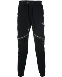 Philipp Plein Leather Zippers Sweatpants