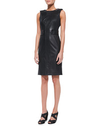 Tory Burch Luisa Sleeveless Leather Ponte Dress