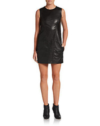Vince Sleeveless Leather Shift Dress