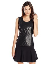 BCBGMAXAZRIA Jett Faux Leather Tank With Ribbed Sid