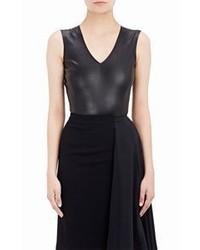Maison Margiela Leather V Neck Bodysuit Black