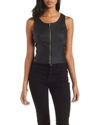 Charlotte Russe Zip Up Faux Leather Tank