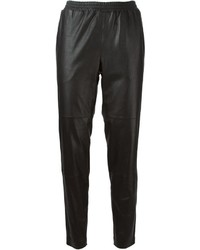 Black Leather Tapered Pants