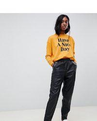 Asos Tall Asos Design Tall Tapered Leather Look Trousers