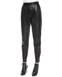 Belstaff Belted Leather Front Pleated Pants