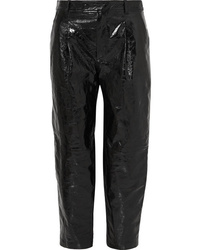 Givenchy Glossed Textured Leather Straight Leg Pants