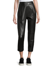 Vince Leather Single Pleat Cropped Pants Black