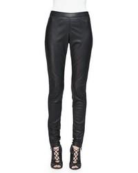 Burberry Side Paneled Leather Leggings Black