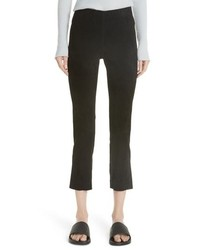 Vince Split Hem Crop Stretch Suede Pants