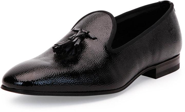 Bally Calfskin Tuxedo Tasseled Loafer Black