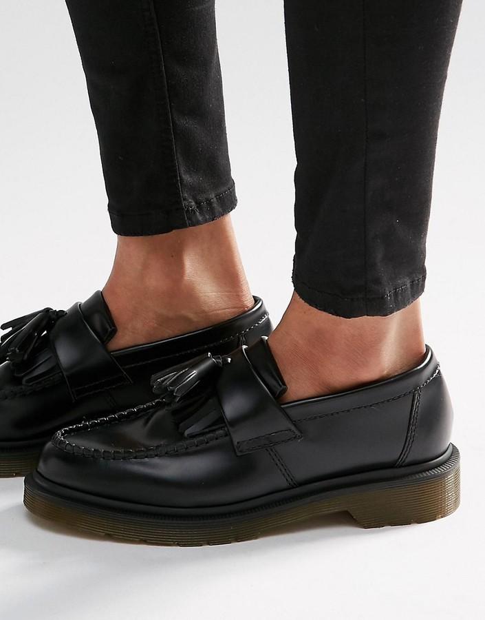 ... Dr. Martens Dr Martens Adrian Black Leather Tassel Loafer Flat Shoes ... 7ba4f17ef9b