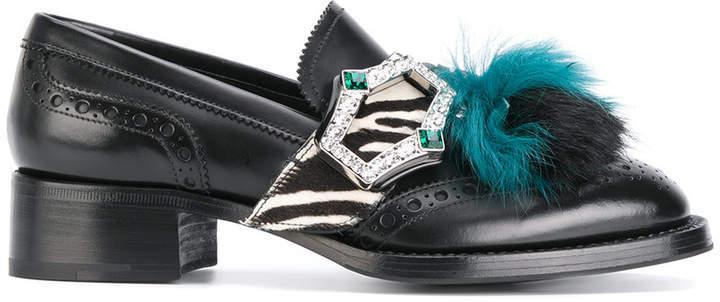 eb7f340f $809, Prada Fur Tassel Loafers