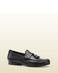 Gucci Black Leather Loafer With Tassels