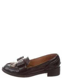 Tory Burch Leather Round Toe Loafers