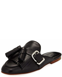Tod's Leather Tassel Fringe Loafer Mule