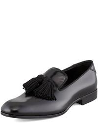 Shiny calfskin tassel loafer black medium 306743