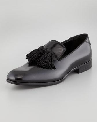 Jimmy Choo Shiny Calfskin Tassel Loafer