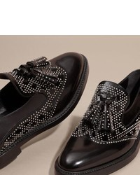 aa946cd5273 ... Burberry Studded Leather Tassel Loafers ...
