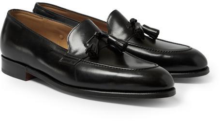 ... Black Leather Tassel Loafers John Lobb Truro Leather Tasselled Loafers  ...