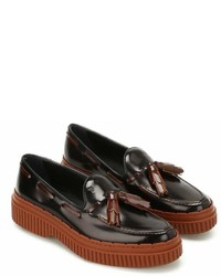 Tod's Two Tone Leather Tassel Loafers