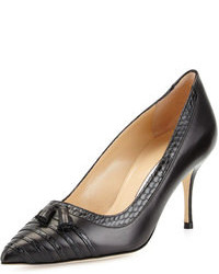 Manolo Blahnik Leffino Tassel Leather Snake Pump Black