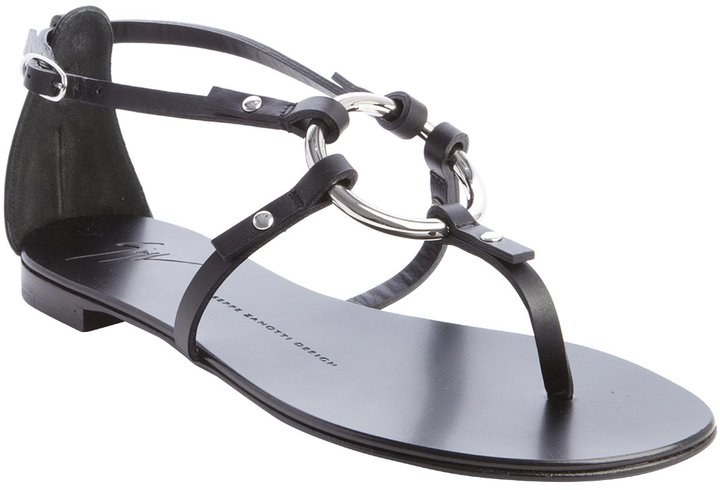 Giuseppe Zanotti Black Leather O Ring Flat Sandals | Where to buy ...