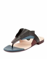 Fendi Bug Monster Leather Flat Thong Sandal Blackmulti