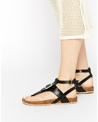 Asos Collection Fimble Footbed Toe Post Leather Sandals