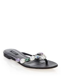 Dolce & Gabbana Jeweled Leather Thong Sandals