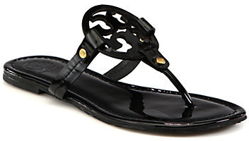f40a3905a514e ... Black Leather Thong Sandals Tory Burch Miller Patent Leather Logo Thong  Sandals ...