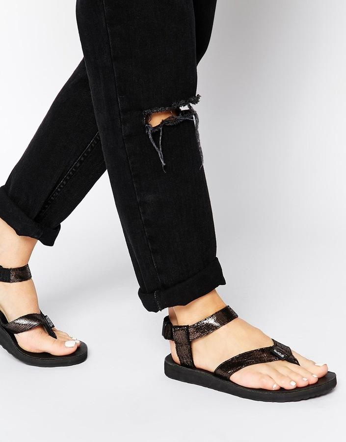 6f61ece9f ... Teva Orginal Black Leather Metallic Flat Sandals ...