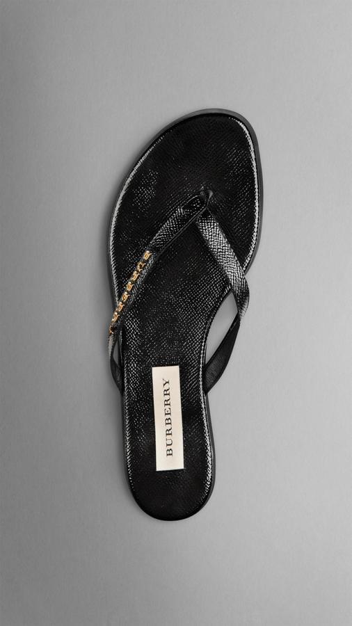 a645d42e0a0a ... Burberry Patent London Leather Flip Flops ...