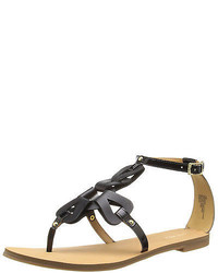 Nine West Sandals Saddie Black Beige Leather Flat Strappy Gladiator Flats