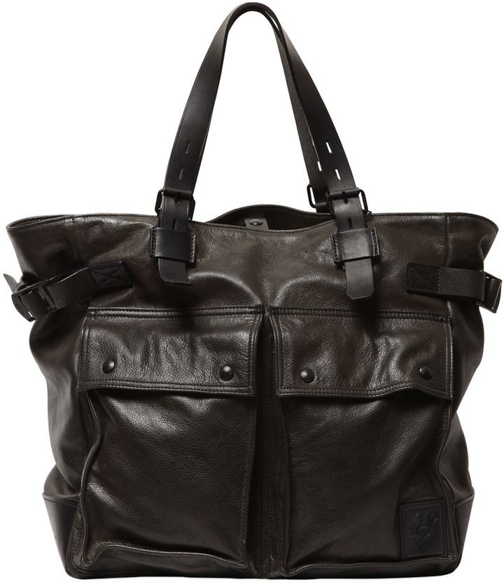 13fbd629fe Belstaff Pinner Leather Tote Bag, $950 | LUISAVIAROMA | Lookastic.com
