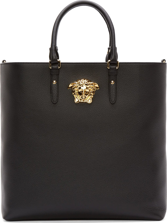 5d8eb86b0236 ... Bags Versace Black Grained Leather Medusa Tote ...