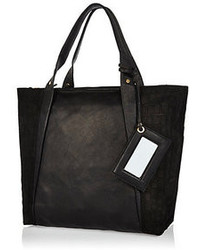 River Island Black Leather Croc Panel Tote Bag