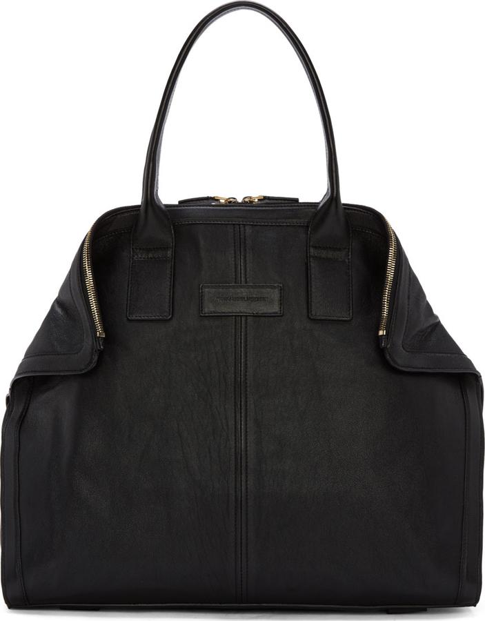 $1,450, Alexander McQueen Black Leather Small De Manta New City Tote