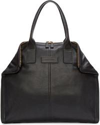 Alexander McQueen Black Leather Small De Manta Tote