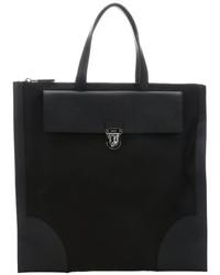 Prada Black Leather Trimmed Nylon Oversized Flat Tote