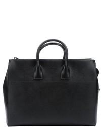 Prada Black Saffiano Leather Large Travel Tote Bag