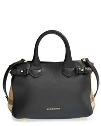 Burberry Small Banner House Check Leather Tote