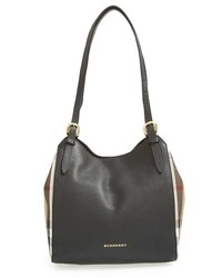 Burberry Small Canterbury House Check Leather Tote Black