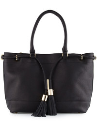 Chloé Chloe Vicki Tassel Leather Tote Bag Black