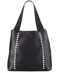 French Connection Del Pebbled Whipstitch Tote Bag Black
