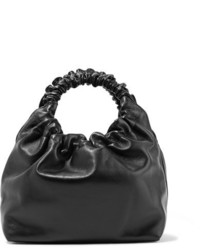 The Row Double Circle Small Leather Tote Black