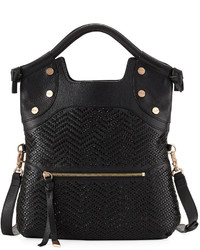 Foley + Corinna Ella Lady Fold Over Tote Bag Black Pattern