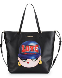Love Moschino Faux Leather Applique Tote Bag Black