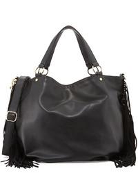 Deux Lux Faux Leather Fringe East West Tote Bag Black
