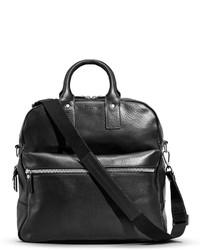 Shinola Flight Zip Leather Tote Bag Black